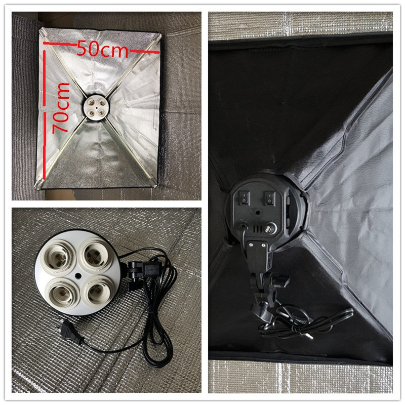 EU Type E27 4in1 Base Socket Light Lamp Bulb Holder Adapter For Photo Studio Kit + 50x70cm Foldable Softbox Photography
