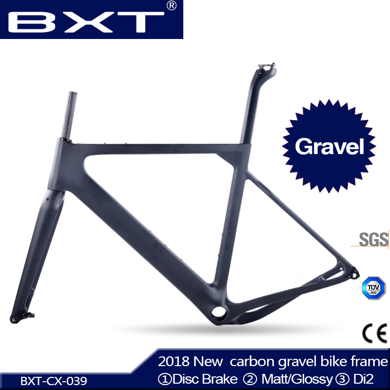 Gravel Bike Frame Aero Road or MTB Bike Frame S/M/L size Cyclocross Frame Disc Bike Carbon Gravel frame QR or thru axle 2017 flat mount disc carbon road frames carbon frameset bb86 bsa frame thru axle front and rear dual purpose carbon frame