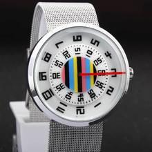 Nova Marca de Moda Black White Numeral Turntable Criativo Homens Mulheres Unisex Sports Relógios Com Malha de Aço Inoxidável Banda relojes