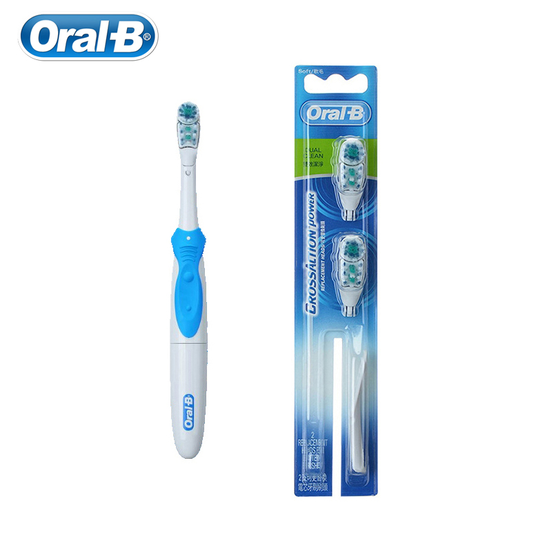 <font><b>Oral</b></font> <font><b>B</b></font> Electric Toothbrush Cross Action Set Dual Clean For Adult Teeth Whitening AA <font><b>Battery</b></font> Powered With Replaceable Brush Head image