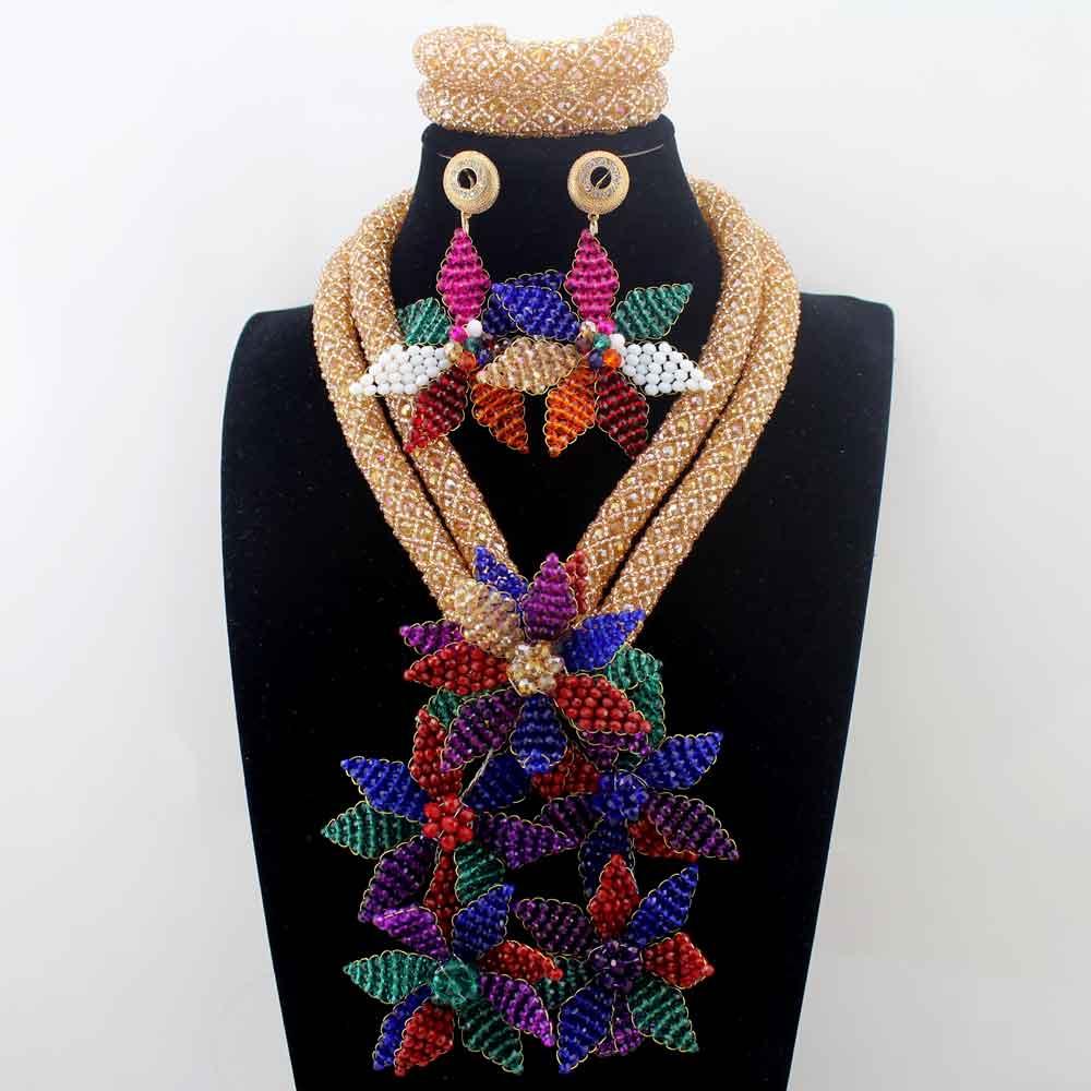 Роскошные цветы кулон Цепочки и ожерелья Красочный Кристалл Африканский Для женщин Свадебная вечеринка индийский Бусины подарок Кружево ю