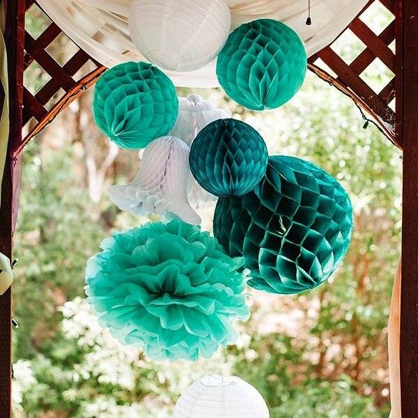 8pcs Teal Green White Paper Tissue Pom Poms Lanterns Honeycomb Celebration  Birthday Party Daily Decoration