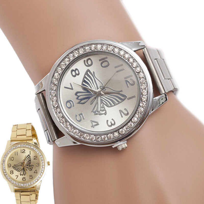 2017 Watches Woman Top Luxury Brand Watches Butterfly Pattern Sport Quartz Wrist Bracelet Big Dial Watches Montre Femme Clock