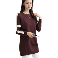 2017 New Long Sweater Women Cashmere Sweater O Neck Dress Female Winter Warm Pullover Long Sleeve