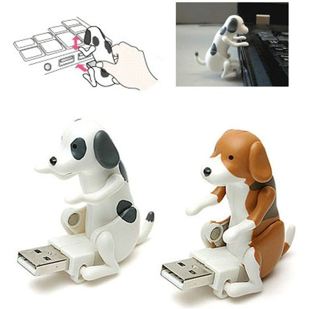 1pc Mini Funny Cute Pet USB Device Humping Spot Dog Toy Christmas Xmas Gray Gift