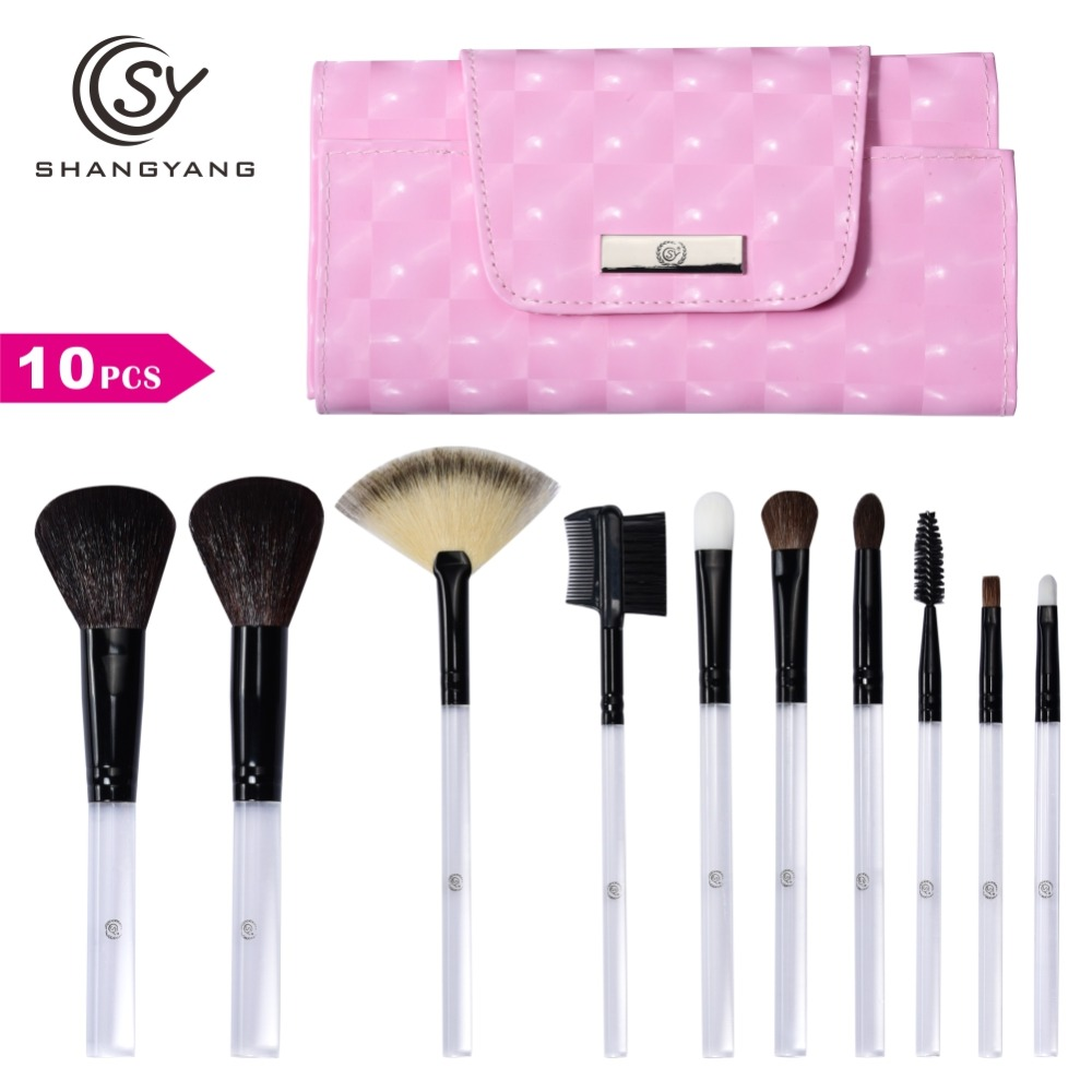 SY 10 Pcs Professional Portable Makeup Brush Set For Loose Powder and Compact Powder Cosmetic Beauty Brush Tools sy 8pcs portable professional makeup brushes set for bb cream powder beauty makeup