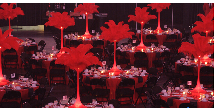 35 40cm hotel ostrich feather centerpieces wedding banquet rh aliexpress com Red Feather Glass Block Feather Table Centerpieces
