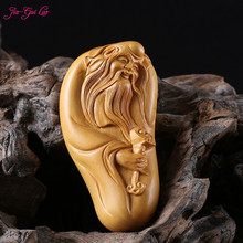 JIA-GUI LUO Boxwood longevity elderly decorative small sculpture model wooden craft gift home decoration pendant gift A038