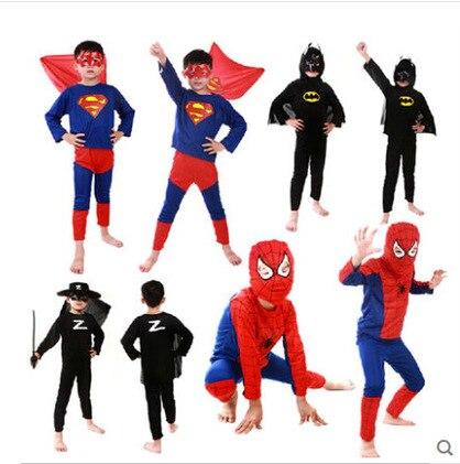 kid Anime Cosplay Superhero Red Spiderman Costume Black Spiderman Batman Superman Halloween Costumes For Kids Carnival Clothing