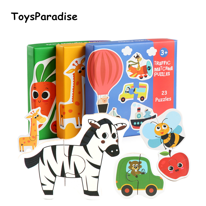 Baby Toys Cognitive Card Vehicle/Fruit/Animal Set Matching Puzzles Wooden Toys For Kids Infant Training Puzzles Educational Gift