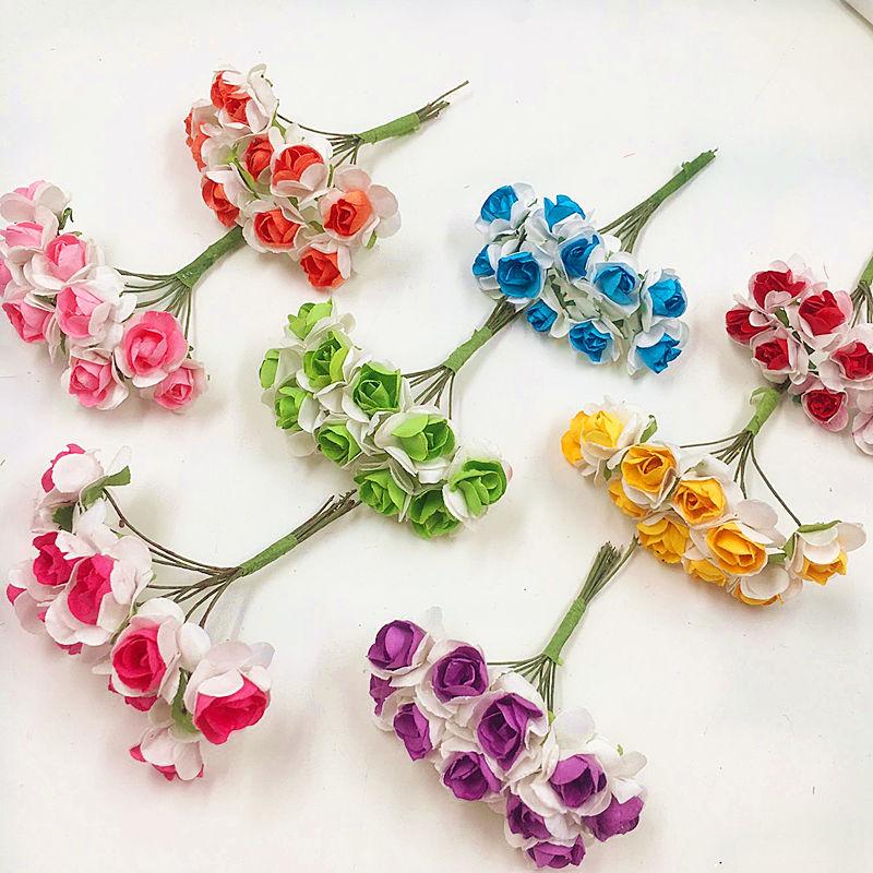 unids cmflor artificial ramos de rosas de papel dplex