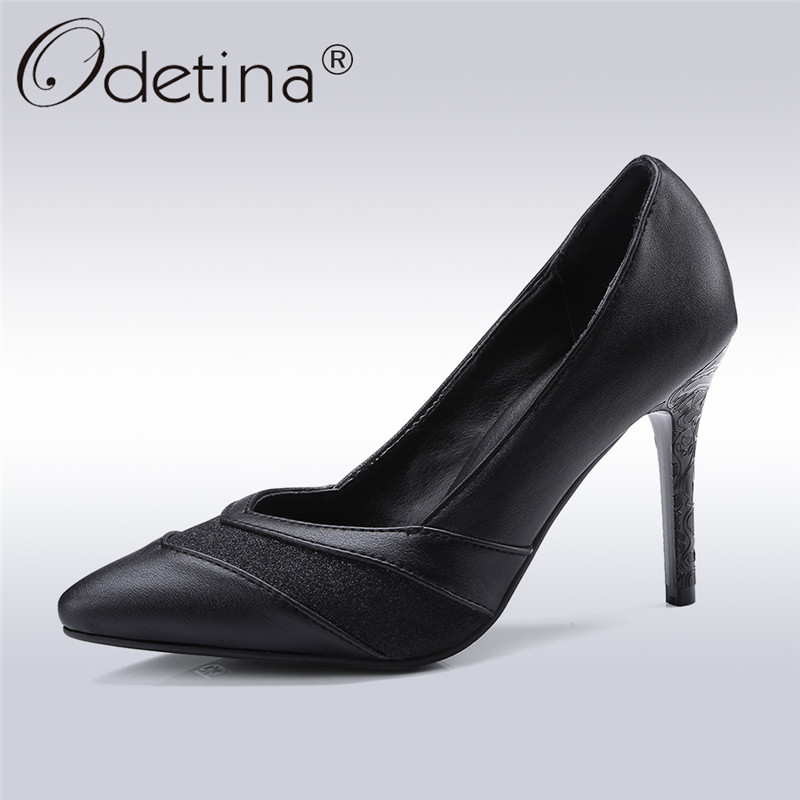 Odetina 2018 New Fashion Pointed Toe Slip On Pumps For Women Thin High Heels Sexy Party Shoes Ladies Bling Pump Shoe Big Size 47 spring autumn women pumps big size lazy shoes air mesh high thin heels pointed toe casual fashion party sexy slip on shallow