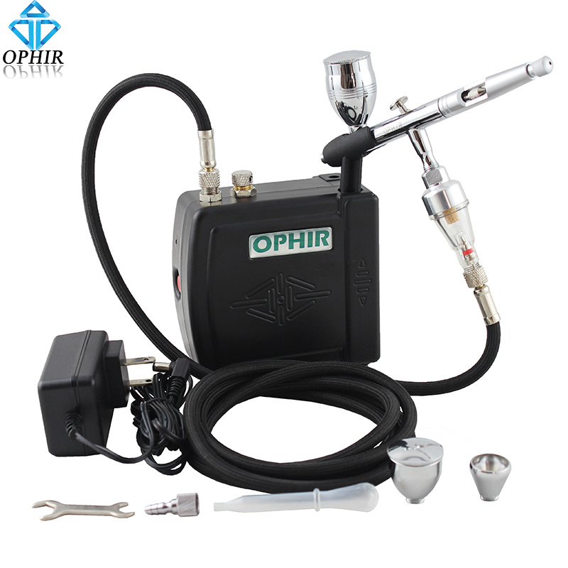 OPHIR 0.5mm Dual-Action Airbrush Kit with Mini Air Compressor for Cake Decorating Airbrush Cake Tools _AC003B+AC006+AC011