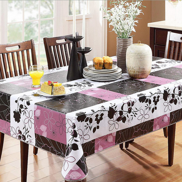 Transparent Pvc Tablecloth Crocheted Table Cloth Purple Toalha De - Tela-para-manteles-de-mesa
