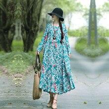 EaseHut Women Vintage Printed Dress 2019 Spring Autumn Korean Long Sleeve Casual Loose O-Neck Mori Girl Maxi Dresses Vestidos