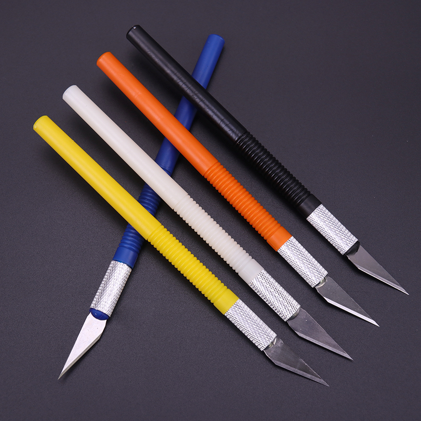 6 Blades Plastic Handle Scalpel Blade Knife Wood Paper Cutter Craft Pen Engraving Cutting Supplies DIY Stationery Utility Knife