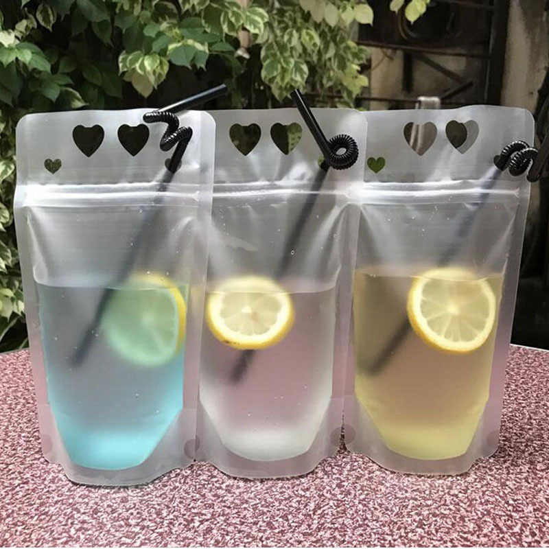 450ml Transparent Self-sealed Plastic Heart Beverage Bag DIY Drink Container Drinking Bag Fruit Juice Food Storage 500pcs ZA5672
