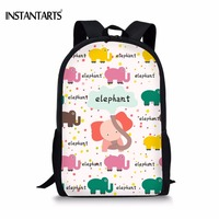 INSTANTARTS Cute Cartoon Backpacks For Teenagers Girls Animal Puzzle Elephant Book Shoulder Bags Casual Childern School