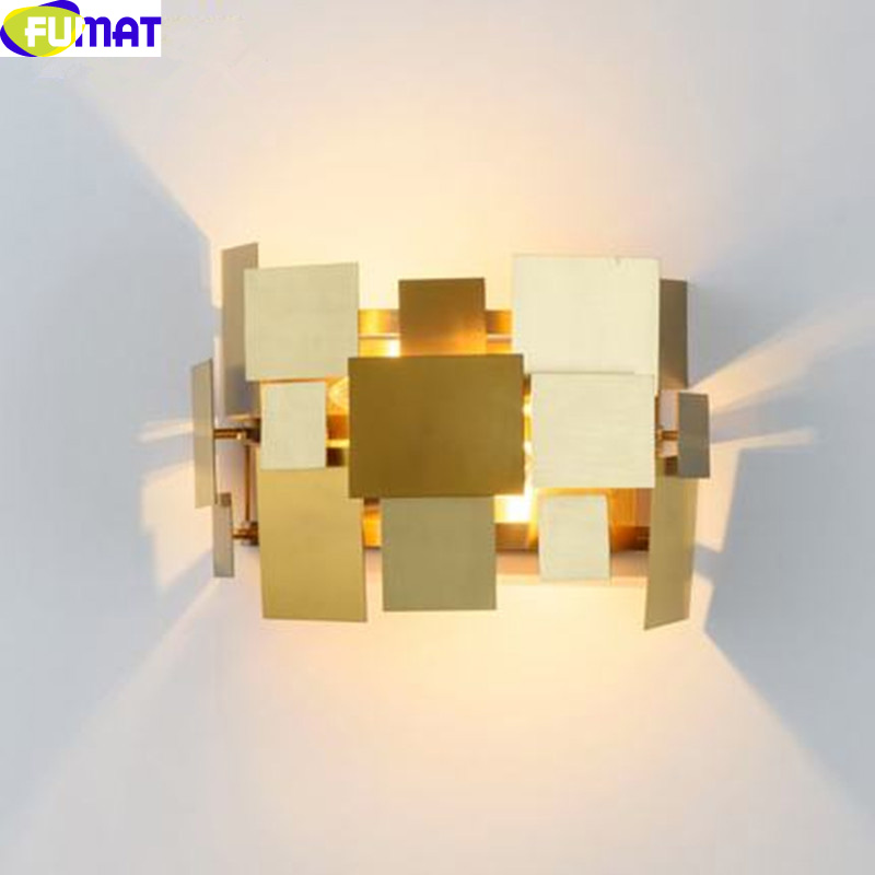 FUMAT Gold Stainless Steel Table Lamps Modern Art Designer Table Lamp Square Piece Deformable Wall Light Bedroom Bedside Light