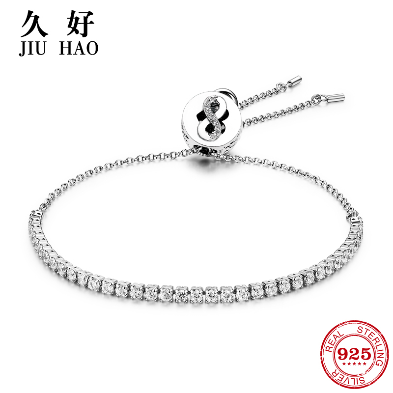 925 Sterling Silver Charm Sparkling eight and heart zircon Bead Bracelets diy for fashion jewelry womens accessories trendy 2018