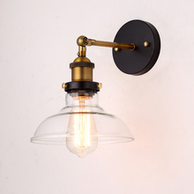 Vintage glass wall light E27 Base 110V 220V Single Arm Wall lamp Adjustable used in bedroom dining room Antique E27 light holder