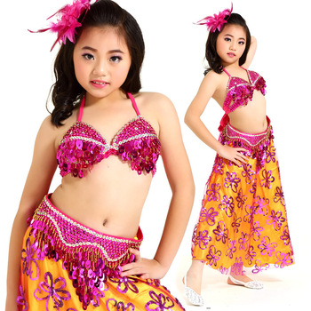 Kids Belly Dancing clothes Oriental Dance Costume Indian Dress Costumes For Girl Children Belly Dance 3pcs/set Bra+Belt+Skirt