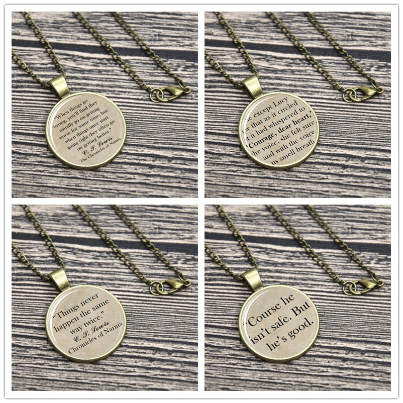 Conles of Narnia Quote Necklace Keyring Aslan, C. S. Lewis Wrong Will Be Right keychain ...