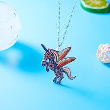 Acrylic HORSE Necklace For Girls Children Kids Cartoon Horse jewelry accessories Women Animal Necklace Pendant Unicorn Party