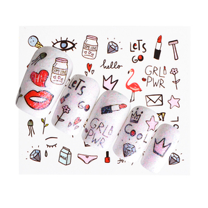 Image 3 - 1 Sheet Pink Diamond Milk Lipstick Partten Nail Decals Nail Art Water Transfer Sticker Polish Wraps Beauty Accessories BEWG2107