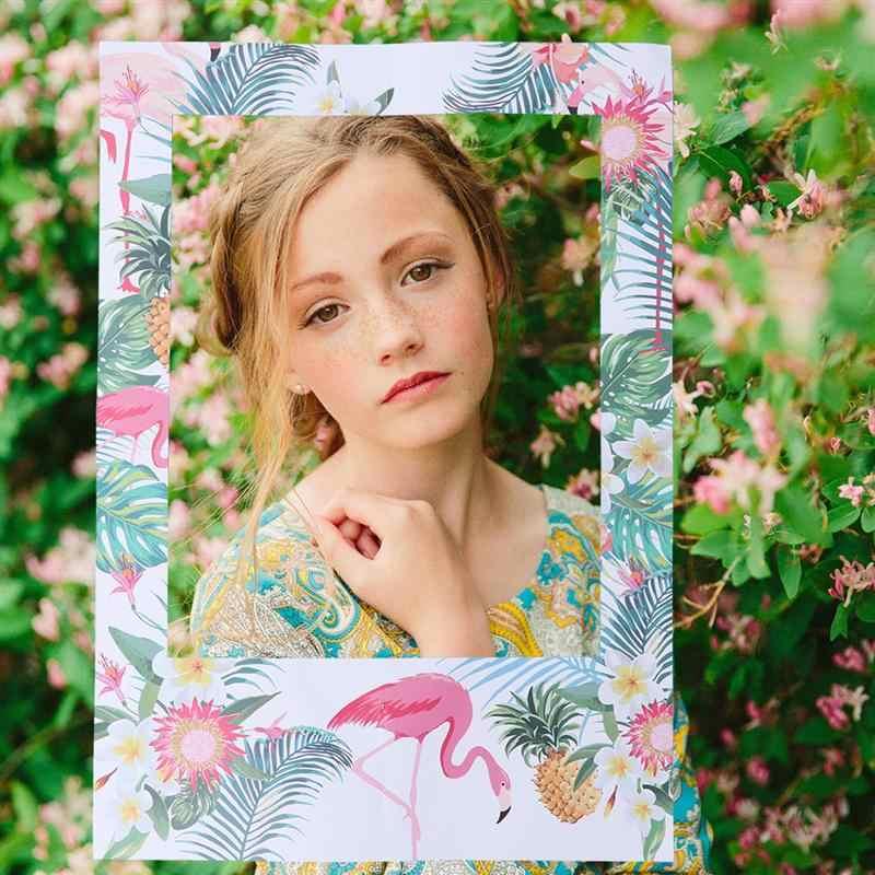 1pc Criativo Picture Frame Fonte Do Partido de Luau Havaiano Tropical Flamingo Foto Prop Photo Frame para a Celebração Do Partido
