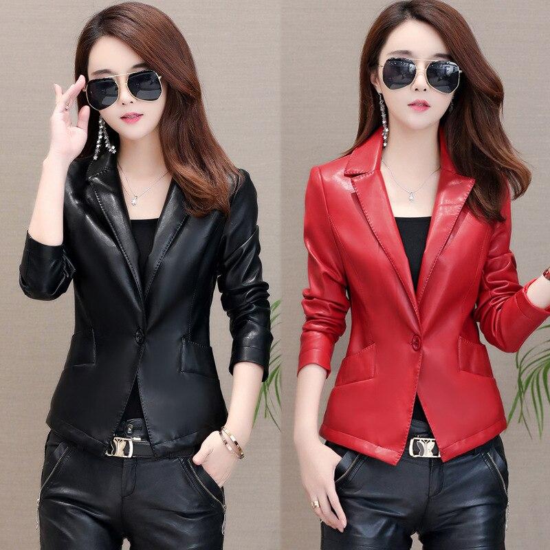 b1915f1e9576 Petit Manches Manteau Cuir Costume Veste Vêtements Slim Longues Mode rouge  Nouvelle Courte 2019 Tempérament En ...