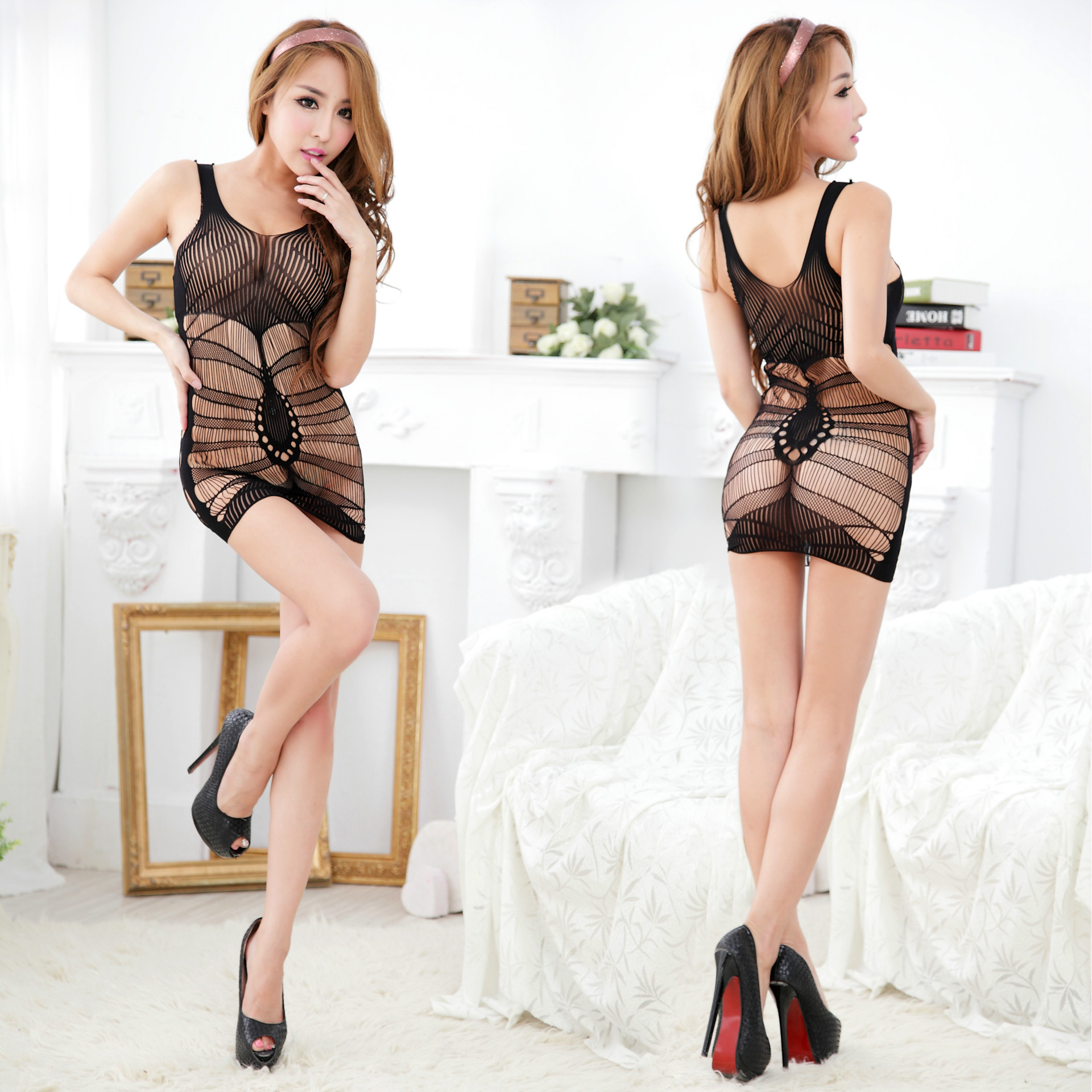 shop Hot Sexy black Bodysuit Babydoll Underwear Dress Set with crypto, pay with bitcoin