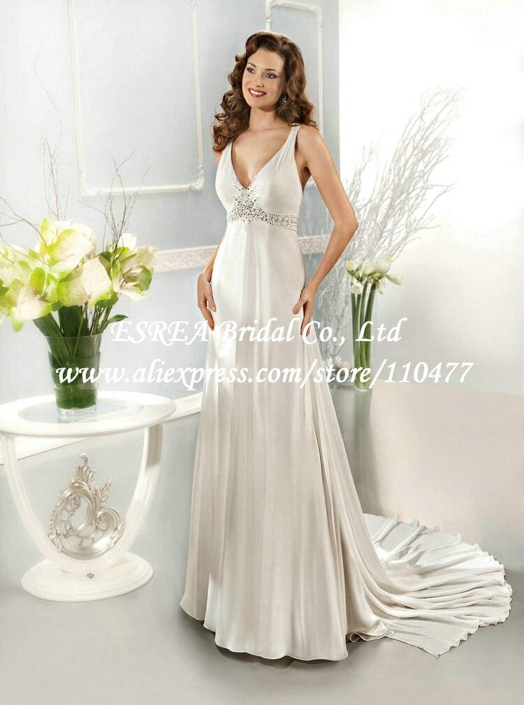 Semi Formal V Neck Empire Bead Backless Sexy Beach Wedding Dress For