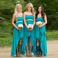 New Arrival High Low Bridesmaid Dresses 2017 Cheap Teal Turquoise Chiffon Sweetheart Beaded Belt Party Dress Maid Honor Gowns