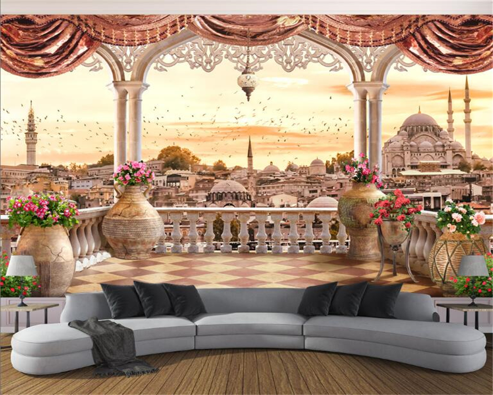 US $8.85 41% OFF|beibehang Premium fashion aesthetic vintage wallpaper  balcony landscape television bedroom background wall 3d wallpaper tapety-in  ...