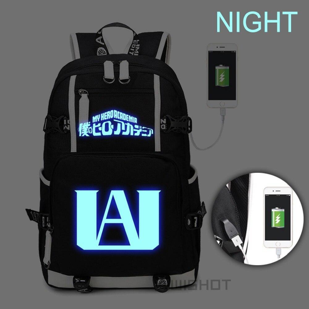 WISHOT Boku No My Hero Academia Luminous Backpack Shoulder travel Bookbag for teenagers with USB Charging