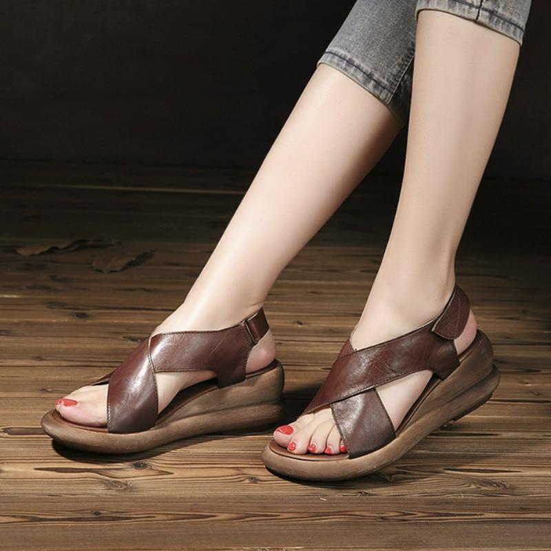 Tywakiho Genuine Leather Women Sandals 6 CM High Heels Summer Shoes Wedge Heels Sandals Coffee Retro