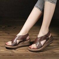 Tywakiho/женские босоножки из натуральной кожи Летняя обувь на высоком каблуке 6 см сандалии на танкетке кофейные женские кожаные туфли ручной