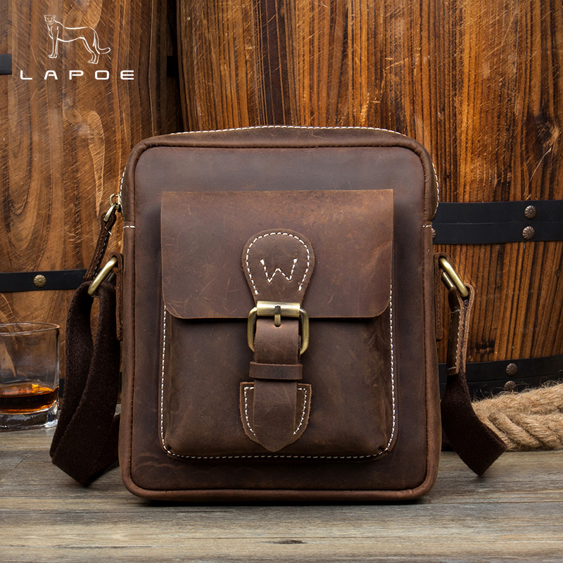 LAPOE Vintage Crazy Horse Genuine Leather Men Bags Men Messenger Bag Man Shoulder Crossbody Bags Leather Handbag Male Small Bag цена