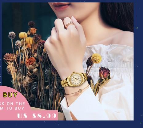 CHENXI Brand Top Luxury Ladies Gold Watch Women Golden Clock Female Women Dress Rhinestone Quartz Waterproof Watches Feminine 4