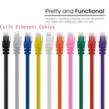 Cable Ethernet redondo UTP RJ45 8P8C de alta calidad de 0,5 pies, 15cm, 20cm, 24 AWG Cat5e, Parche de red de Internet, cable LAN de 350MHz, 5 unids/lote