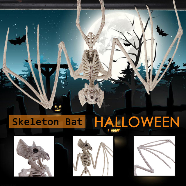 17cmx30cm Fantasy Life Fun Bone PP Plastic Skeleton Animal Bat Bone Model Home Halloween Party Decoration