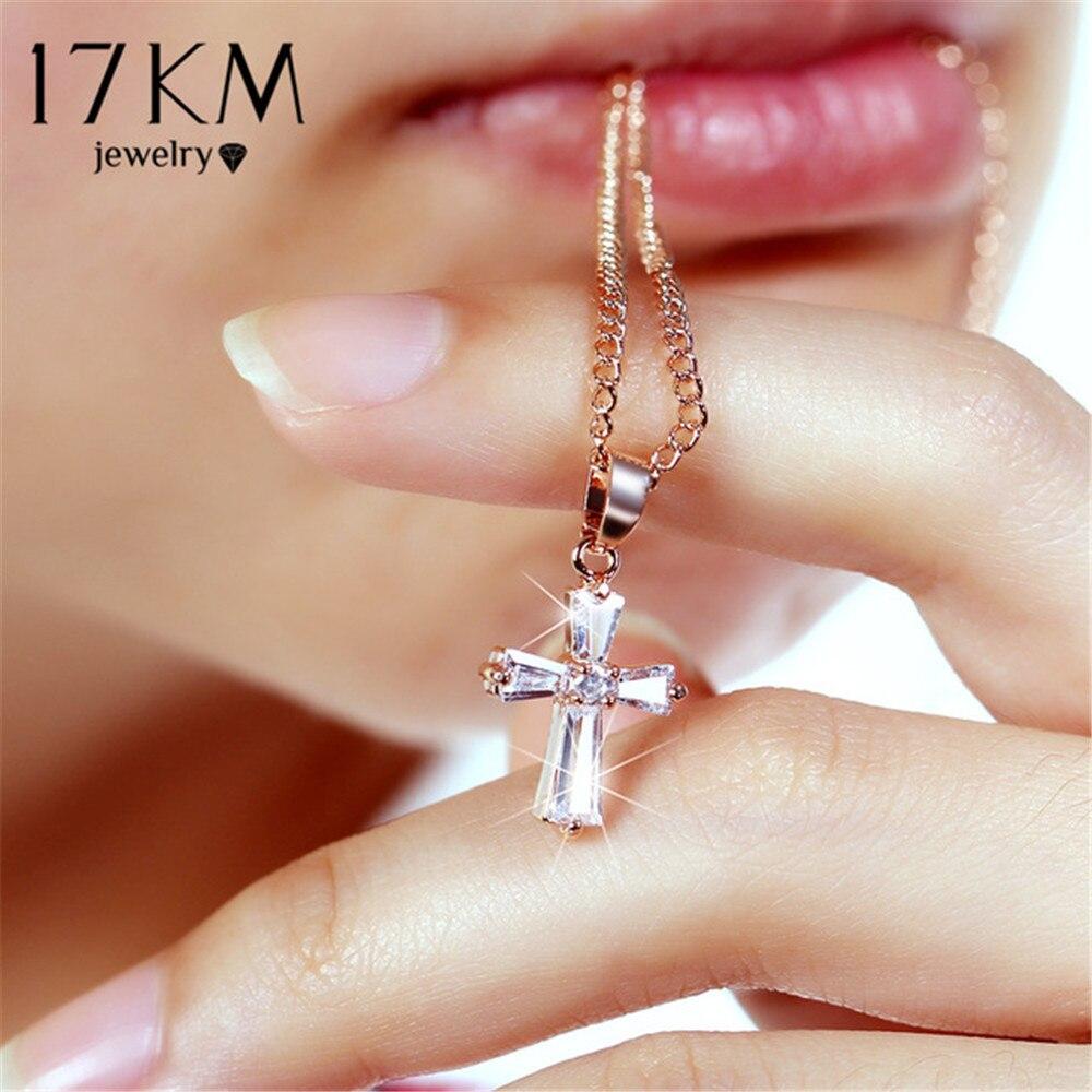 17 Km Rose Gold Farbe Kreuz Anhänger Halsketten Für Frau Kristall Anhänger Zirkonia Lange Halskette Bijoux Schmuck Großhandel Klar Und GroßArtig In Der Art