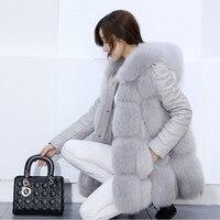 Winter Warm Vest detachable sleeve 2018 New Fashion Women Hooded Coat Fur Vest High Grade white Faux Fur Coat Fox Fur Vest