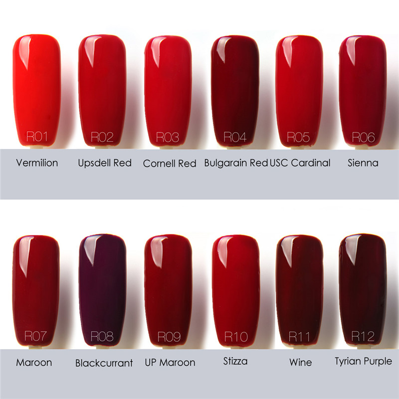 FOCALLURE Beauty UV Nail Gel Polish Nail Art Colorful Red Series UV ...