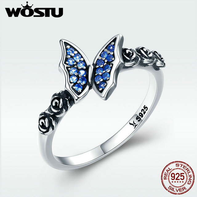 Wostu 2018 Spring New 925 Sterling Silver Rose Erfly Wonderland Style Rings For Women