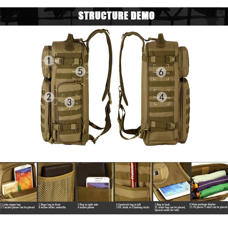 Sac à dos à bandoulière pour hommes sacs à dos pour hommes un seul épaule homme grand voyage sacs à dos militaires sacs à dos Molle à l'extérieur sac à dos - 5