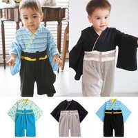 Newborn Baby Boys Japan Samurai Kimono Clothing V-neck Retro Cotton Soft Infant Traditional Yukata Photography Outfits