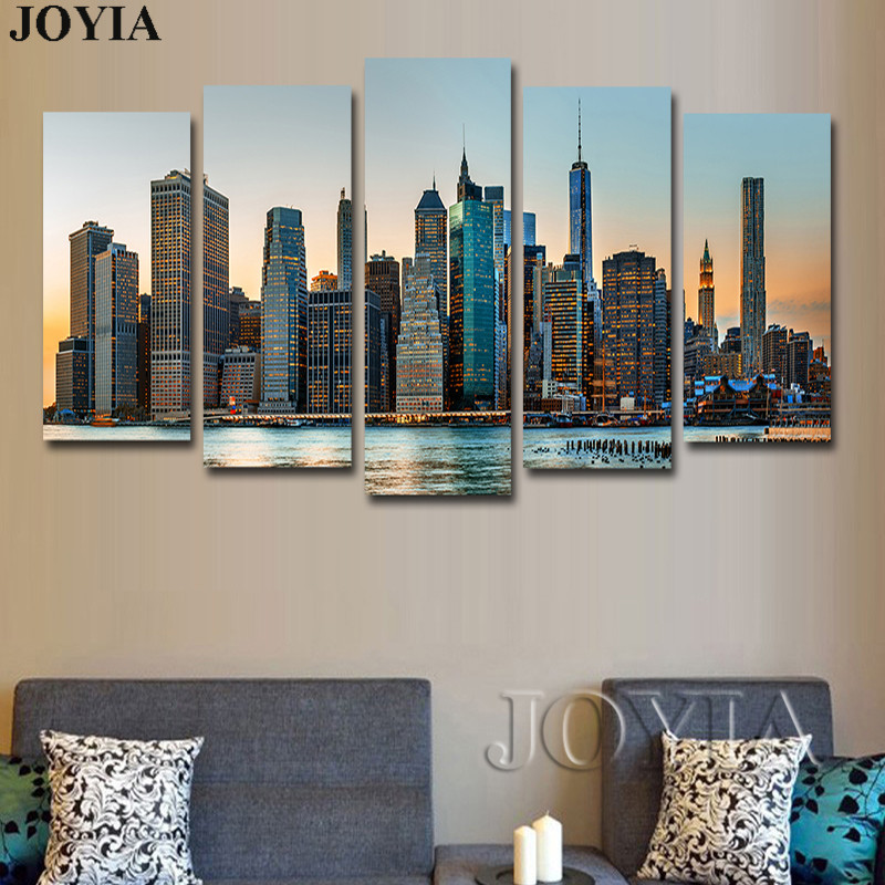 5 Panel Wall Art Canvas Manhattan City New York Decor Wall Pictures