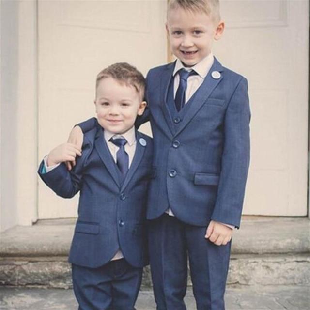 db997ed2771b New Notch Lapel Children Suit 3 Pieces (Jacket+Vest+Pants+Tie) Dark Grey Boy  Tuxedos Custom Made Prom Wedding Suits For Kid